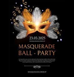 Masquerade flyer template with gold carnival mask vector