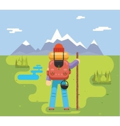 Mountain Travel Trip Vacation Backpaker Man Wood vector image