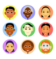 Multiethnic avatars set in flat style vector