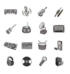 music icons set cartoon vector image vector image