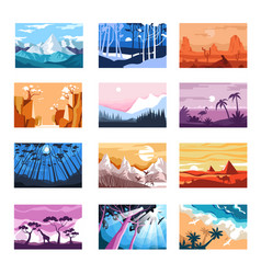 nature landscapes isolated icons mountains vector image