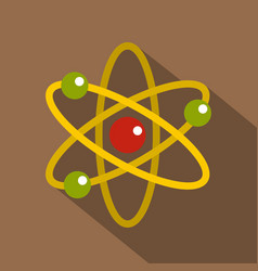 Nucleus and orbiting electrons icon flat style vector