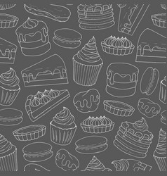 pastry pattern with line art of cakes pies muffins vector image