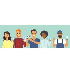 People using smart phones vector