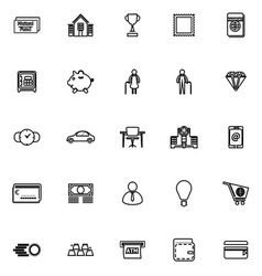 Personal financial line icons on white background vector image