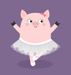 Pig bellerina dancing piggy piglet ballet dancer vector