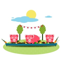 Pigs Eating Food at Farm vector image