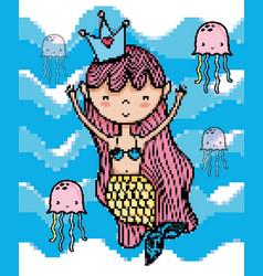 pixel art aquatic world cartoons vector image