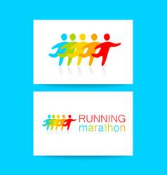 Running marathon template design vector