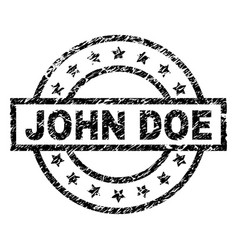 Scratched textured john doe stamp seal vector