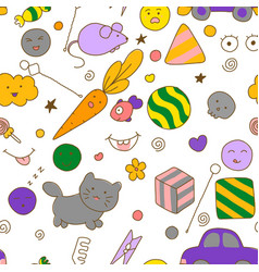 seamless kawaii child pattern with speech therapy vector image