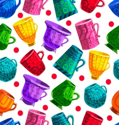Seamless pattern with cartoon mugs with cooking vector image