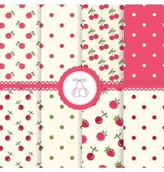 set cherry seamless patterns vector image