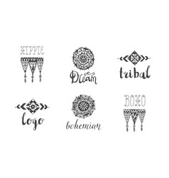 set hand drawn tribal boho style logos vector image