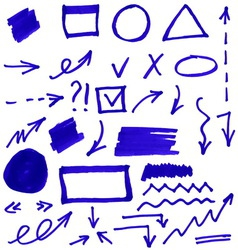 Set of blue abstract hand-painted marker vector