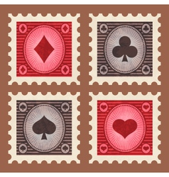 Set of Poker Stamps vector