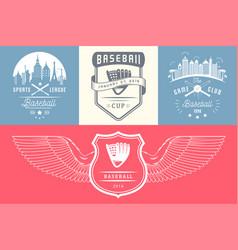set vintage baseball logos and badges vector image