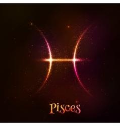 Shining neon zodiac pisces symbol vector