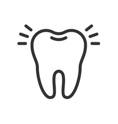 Shiny clean tooth cute icon vector