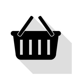 shopping basket sign black icon with flat style vector image