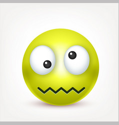 Smiley green crazy emoticon yellow face with vector