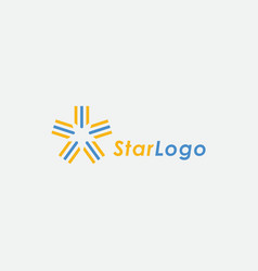 Star logo icon with flag ribbon concept vector