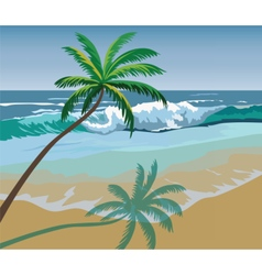 Summer seaside shore with palm trees vector