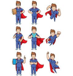 Super nurse caucasian male set vector