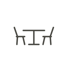 Table chair icon line restaurant symbol vector