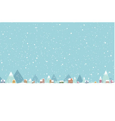 town in snow falling place flat color 001 vector image