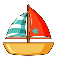 Toy boat with red and green flag on white vector