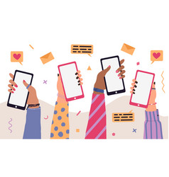 trendy cartoon people hands using smartphones vector image