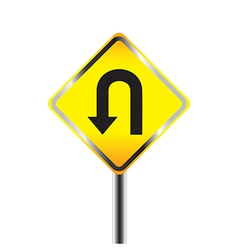 U Turn road sign Yellow road sign vector image vector image