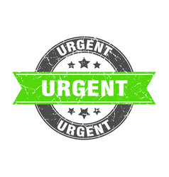Urgent round stamp with green ribbon urgent vector