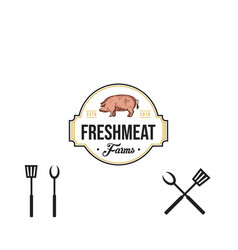 vintage butchery logo retro styled meat shop vector image