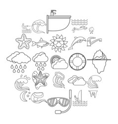 Water icons set outline style vector
