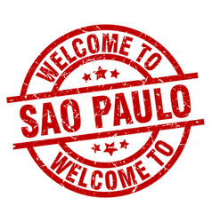 Welcome to sao paulo red stamp vector