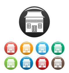 wood house icons set color vector image