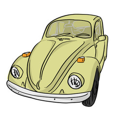 yellow retro car with black lines vector image