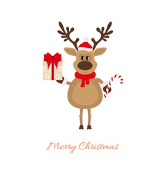 Christmas reindeer with gift and caramel cane vector image vector image