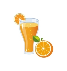 Orange Juice Breakfast Food Element Isolated Icon vector image