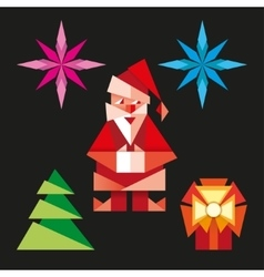 Origami christmas icons cartoon vector image vector image