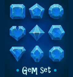 set of realistic blue gems of various shapes vector image
