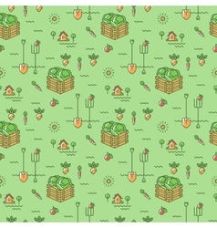 Vegetables garden seamless pattern Agriculture vector image vector image