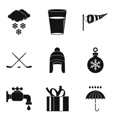 Freezing icons set simple style vector