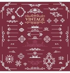 set of calligraphic vintage design elements vector image vector image