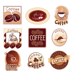 set of logos for coffee brown vector image vector image
