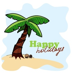 Tropic island background Card concept vector image