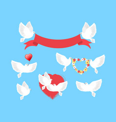 white pigeons holding red ribbon flower wreath vector image vector image