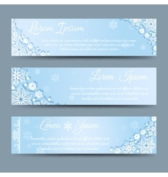 Winter snowflakes banner template set vector image